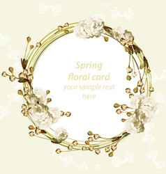 vintage cherry blossom round card frame spring vector image