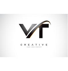 vt v t swoosh letter logo design with modern vector image