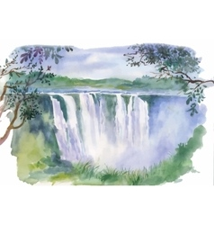 Watercolor of beautiful waterfall vector
