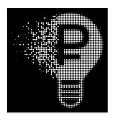 White disintegrating dotted halftone rouble bulb vector