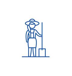 woman farmer line icon concept woman farmer flat vector image