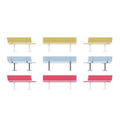 wooden street bench set vector image