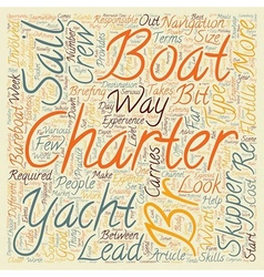 Yacht Charter text background wordcloud concept vector