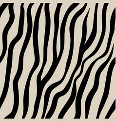 Zebra seamless pattern black hand drawn stripes vector