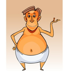 cartoon character big bellied man in shorts vector image vector image