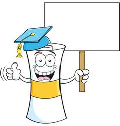 Cartoon diploma holding a sign vector image vector image