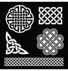 Celtic white knots braids and patterns on black vector image vector image