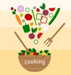 cooking vegetables salad vector image