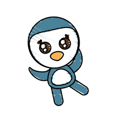 Drawing penguin animal character vector