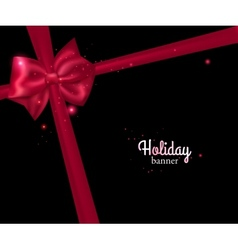 Elegant holiday banner with photorealistic red bow vector image