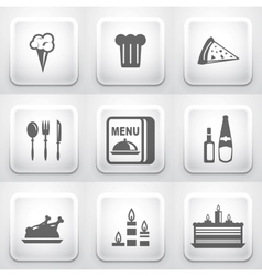 Set of square application buttons restaurant vector