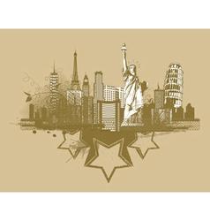 vintage city background vector image vector image
