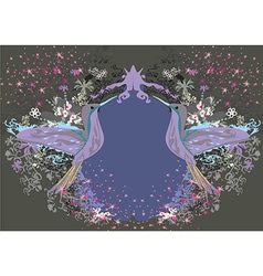 vintage frame with hummingbird vector image