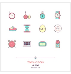 TIME Line Icons Set vector image