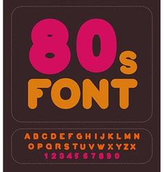 80s font Retro alphabet Vintage rounded alphabet vector image