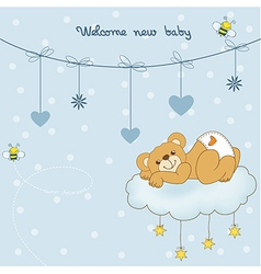 baby shower card with sleepy teddy bear vector image