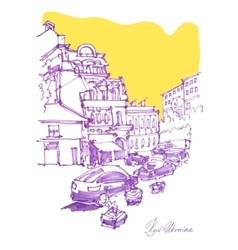 freehand sketch drawing of Podol street in Kyiv vector image