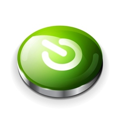 green glossy power button icon vector image vector image
