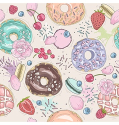 Seamless breakfast pattern with flowers and donuts vector image vector image