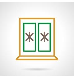 Winter window color simple line icon vector image