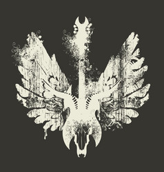 with electric guitar skull and wings vector image vector image