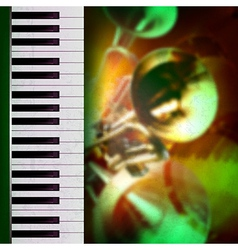 abstract grunge green background with trumpets and vector image vector image