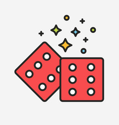 magic red dices with sparks line vector image