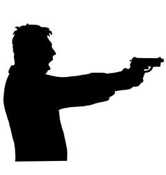 man shoots a gun isolated on white background vector image