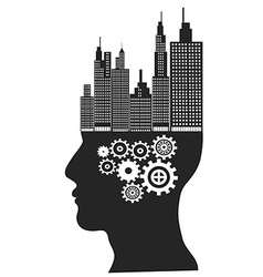 Skyscrapers stand on human head vector image vector image