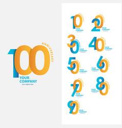 100 year anniversary set template design vector