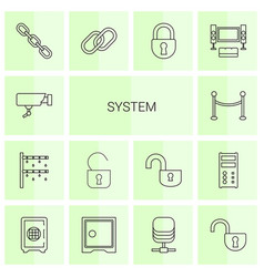 14 system icons vector image