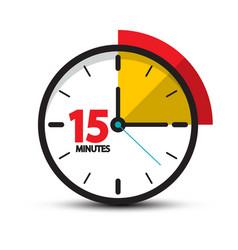 15 minutes clock icon fifteen minute symbol vector