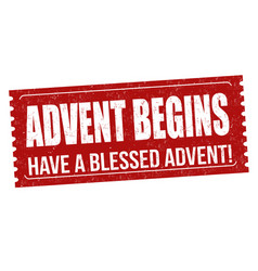 Advent begins grunge rubber stamp vector