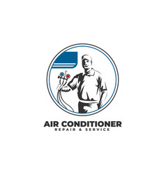 Air conditioner repair service with technician vector