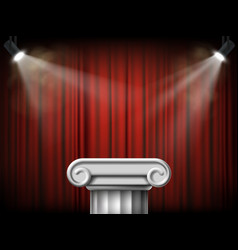 Antique marble column podium on the background vector