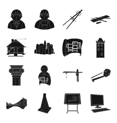 Architect set icons in monochrome style big vector