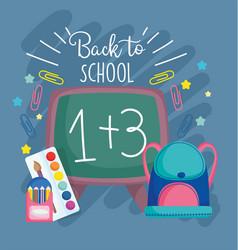 Back to school chalkboard backpack pencil color vector