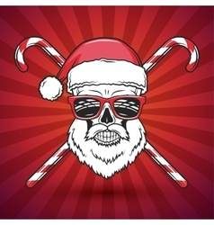 Bad Santa Claus biker with candy cones print vector image