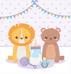 Bashower little lion bear with pacifier rattle vector