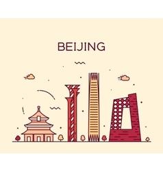 Beijing skyline trendy linear vector