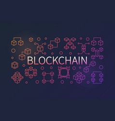 blockchain colorful outline horizontal vector image