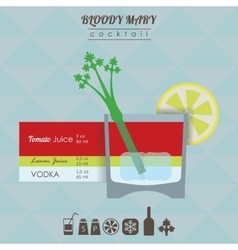 Bloody Mary cocktail flat style with vector image