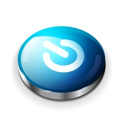 blue glossy power button icon vector image