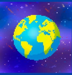 bright earth planet in pixel art style colorful vector image
