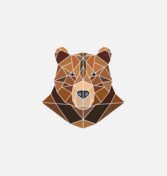brown bear portrait abstract polygonal design vector image