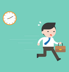 Businessman hurry on work with clock flat design vector