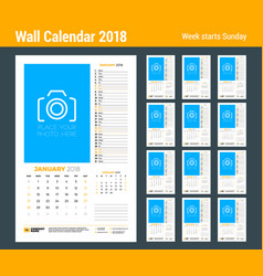 calendar planner template for 2018 year set of 12 vector image