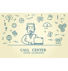 Call center thin line design vector
