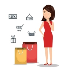 Cartoon woman e-commerce buy isolated design vector