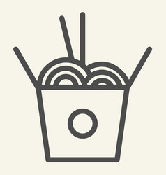 Chinese noodles line icon noodle in box vector